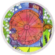 Round Beach Towel featuring the painting Gemini by Cathie Richardson