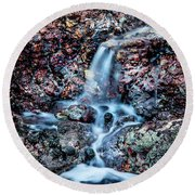 Gemstone Falls Round Beach Towel by Az Jackson