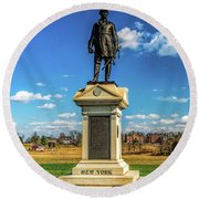 Round Beach Towel featuring the photograph General Abner Doubleday - Gettysburg National Park by Nick Zelinsky
