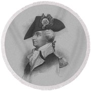 Round Beach Towel featuring the mixed media General Anthony Wayne by War Is Hell Store