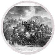 General Custer's Death Struggle  Round Beach Towel