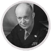 Round Beach Towel featuring the photograph General Dwight Eisenhower by War Is Hell Store