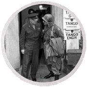 Round Beach Towel featuring the photograph General Eisenhower And General Ridgway  by War Is Hell Store