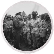 General Eisenhower On D-day  Round Beach Towel