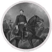 Round Beach Towel featuring the mixed media General George Mcclellan On Horseback by War Is Hell Store
