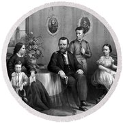 Round Beach Towel featuring the mixed media General Grant And His Family by War Is Hell Store