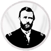 General Grant Black And White  Round Beach Towel