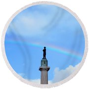 General Robert E. Lee Mounment In Retro Spectrum Round Beach Towel