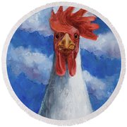 Round Beach Towel featuring the painting General Tso by Billie Colson