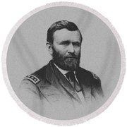 Round Beach Towel featuring the mixed media General Ulysses Grant And His Signature by War Is Hell Store
