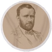 Round Beach Towel featuring the mixed media General Ulysses S Grant by War Is Hell Store