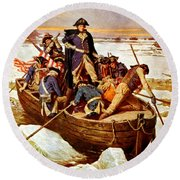 General Washington Crossing The Delaware River Round Beach Towel