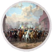 General Washington Enters New York Round Beach Towel