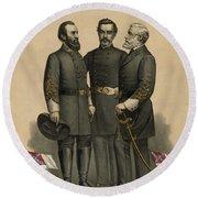 Generals Jackson Beauregard And Lee Round Beach Towel