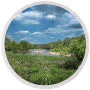 Round Beach Towel featuring the photograph Genesee River by Guy Whiteley