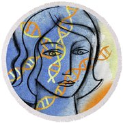 Round Beach Towel featuring the painting Genetics by Leon Zernitsky