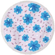 Gentle Blue Flowers Round Beach Towel