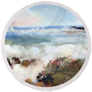 Gentle Breakers Round Beach Towel