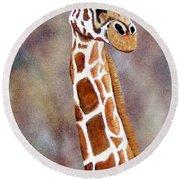 Gentle Giraffe Round Beach Towel