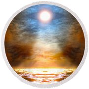 Gentle Mantra Om Light Glowing Into The Sea Round Beach Towel by Wernher Krutein
