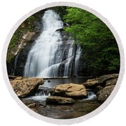 Gentle Waterfall North Georgia Mountains Round Beach Towel