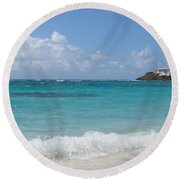 Round Beach Towel featuring the photograph Gentle Wave On Dawn Beach by Margaret Bobb