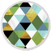 Geometric Abstract 81, Triangles, Gold, Greenery, Niagara, Kale Round Beach Towel