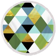 Geometric Abstract 81, Triangles, Gold, Greenery, Niagara, Kale Round Beach Towel