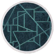 Round Beach Towel featuring the photograph Geometric Abstraction In Blue by David Gordon