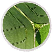 Geometric Landscape 05 Tree And Green Fields Aerial View Round Beach Towel