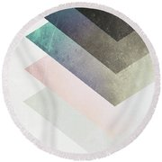 Geometric Layers Round Beach Towel