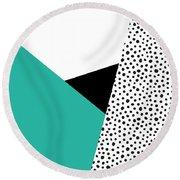 Geometric Modern Triangles With Spots Round Beach Towel by Rachel Follett