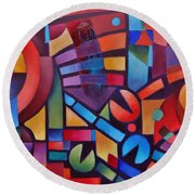 Geometric Music Round Beach Towel