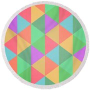 Geometric Triangles Abstract Square Round Beach Towel