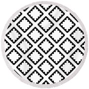 Geometricsquaresdiamondpattern Round Beach Towel by Rachel Follett