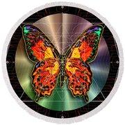Geometron Fyr Lepidoptera Round Beach Towel by Iowan Stone-Flowers