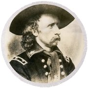 George Armstrong Custer  Round Beach Towel