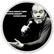 George Carlin Art  Round Beach Towel
