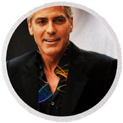George Clooney Painting Round Beach Towel
