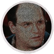 George Costanza Quotes Mosaic Round Beach Towel by Paul Van Scott