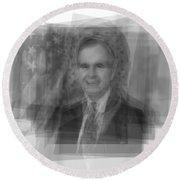 George H. W. Bush Round Beach Towel by Steve Socha