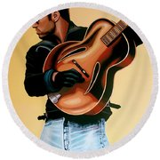 George Michael Painting Round Beach Towel