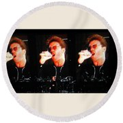 George Michael The Passionate Performer Round Beach Towel by Toni Hopper
