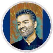 George Michael - Tribute  Round Beach Towel
