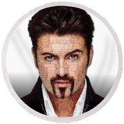 George Michael Tribute Round Beach Towel