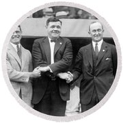 Round Beach Towel featuring the photograph George Sisler - Babe Ruth And Ty Cobb - Baseball Legends by International  Images
