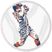 George Springer Houston Astros Pixel Art 11 Round Beach Towel