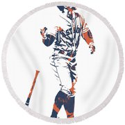 George Springer Houston Astros Pixel Art 12 Round Beach Towel