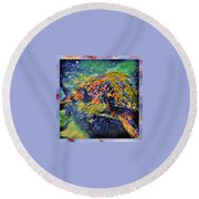George The Turtle Round Beach Towel by Erika Swartzkopf