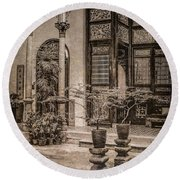 Round Beach Towel featuring the photograph George Town, Penang, Malaysia - Courtyard Of The Blue Mansion, Silverplate by Mark Forte